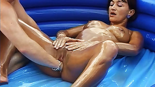 oiled stepmom outdoor fisted