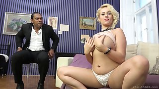 Mature flaxen-haired vixen Angel Wicky sprayed with cum all over her big tits