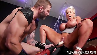 Rough BDSM pussy and anal for a big ass cougar on fire