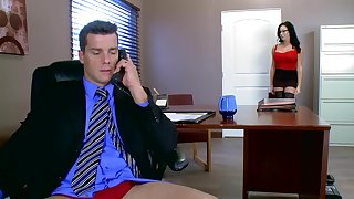 Voluptuous female blows and rides dick of her excited boss