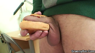 Picked up chubby old grandma rides young cock