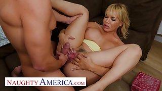 Blonde MILF cougar with big ass Dana DeArmond fucks her sons friend - stepmom