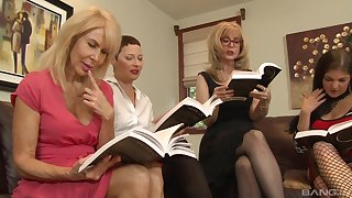 Lesbian orgy in a hotel room with Nina Hartley added to their way mature followers