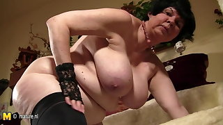 Big titted granny showing her old cunt