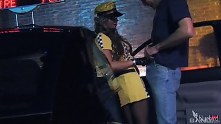 Horny female taxi driver gets cum from a satisfied customer