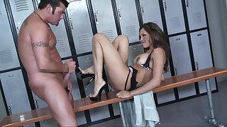 Nataly Rosa Enjoys Locker Area Creampie
