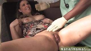 Katie Thomas gets fucked and cum sprayed by say no to well hung black doctor