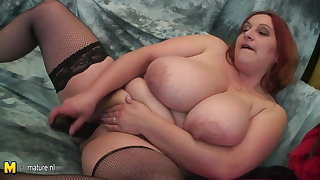 Grown up dam with VERY BIG TITS and her rubber cock