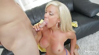 Marvelous cocksucking milf with a great set of fake tits