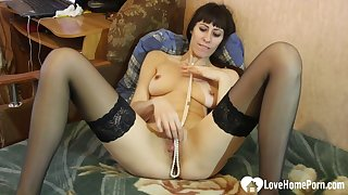 What is she using for having orgasms