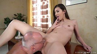 Nerdy plump gaffer wanna eat fresh pussy of charming Anya Krey