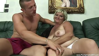 chubby mature Zsuzsanna gets fucked by a young neighbor on the couch