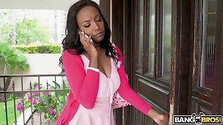 Naughty big breasted black housewife Daya Knight rides black cock