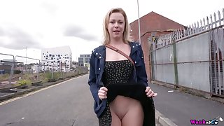 Pert whore Lucy Lauren flashes her pussy and tits vulnerable first date