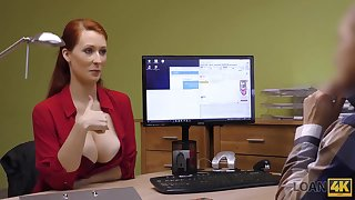 Agent screws busty redhead Isabella Lui because she really needs money