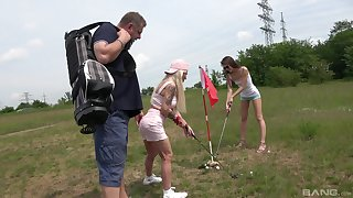 Lucky dude got surprised with a threesome in the forest with two girls