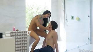 Wild MILF stepmom teases the hell out of a young man in the shower