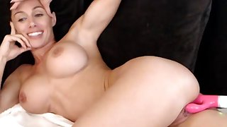 fit sporty woman with big tits and anal toy up her butt - webcam solo