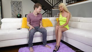 Stripper stepmom Astrid Star gives a wondeful blowjob to her stepson in the living room
