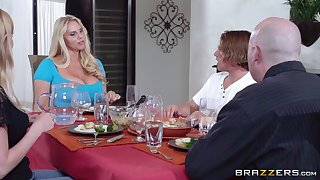 Massive tits mature Karen Fisher pleasures a guy in the kitchen