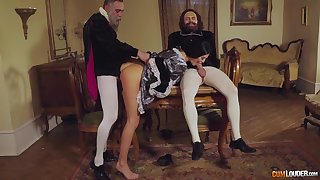 Threesome leads the busty raven to insane orgasm
