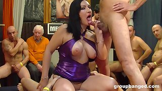 Older husband watches while his slutty wife gets gangbanged