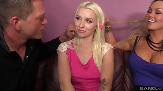 Horny blondes Abbey Brooks and Stevie Shae decide to share a dick
